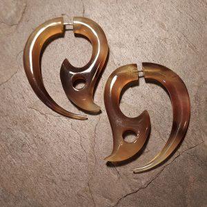 hand carved horh earrings