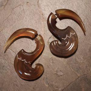 hand carved spellstone horn earrings