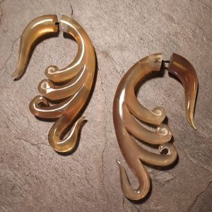 octiva Spellstone hand carved horn earrings