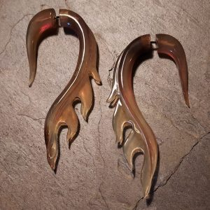 Uriel hand carved spellstone horn earrings