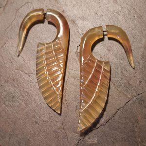 amber Spellstone hand carved horn earrings