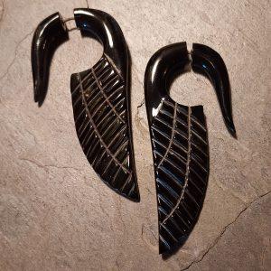 spellstone hand carved horn earrings