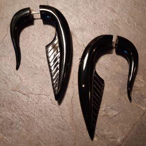 hand carved black spellstone horn earrings