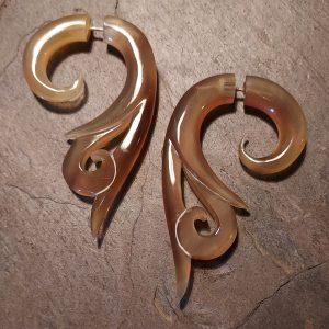 hand carved spellstone amber horn earrings
