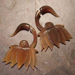 hand carved amber horn spellstone earring