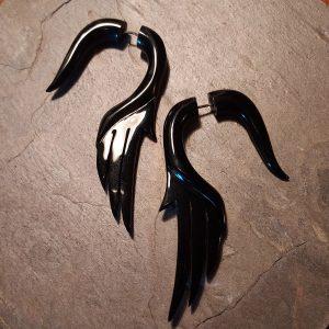 hand carved spellstone black horn earring