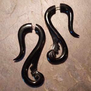Hand carved Black horn spellstone earring