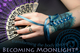 Laced cuff book cover for becoming moonlight white henna body art