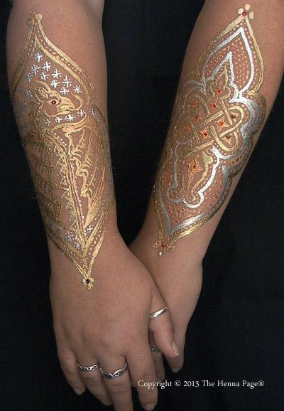 body art image using pros-aide liquid and metallic powders