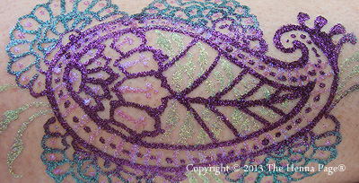 finished three color glitter design with Pros-Aide Adhesive