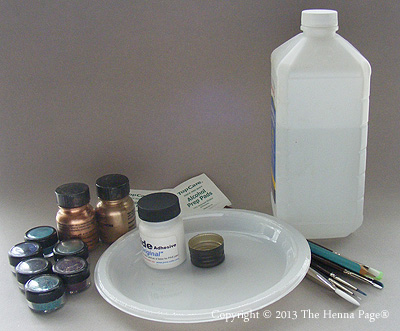 items needed to create body art with pros-aide